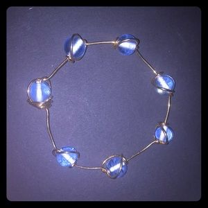 Gold wrapped blue glass bead bracelet